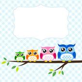 Owl family greeting — Stock Vector