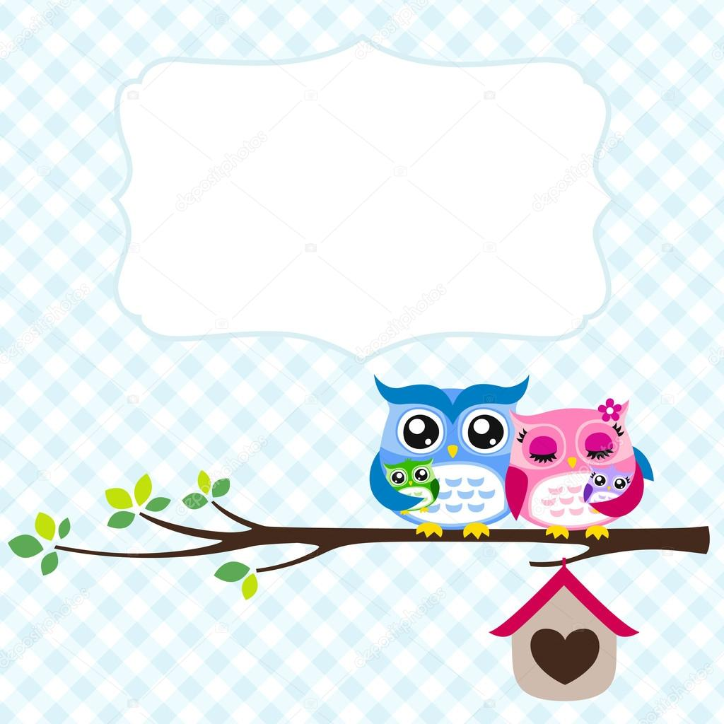 Owl family greeting  — Stock Vector #18403239