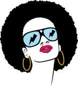 Afro hair hippie woman pop art — Stock Vector