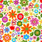 Seamless retro flower pattern — Stock Vector