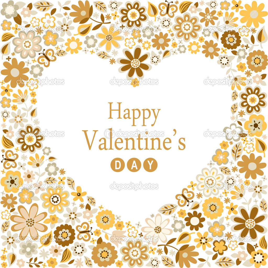 Romance heart valentines flower card  — Stock Vector #19319377