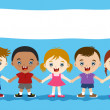 Cute multicultural children hand in hand — Stock Vector