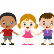 Cute multicultural children hand in hand — Stock Vector #19401251