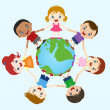 Multicultural children hand in hand on earth — Stock Vector