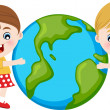 Children hugging the earth — Stock Vector #19924963