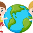 Children hugging the earth — Stock Vector
