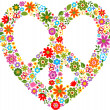 Stock Vector: Heart peace symbol with floral pattern