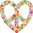 Heart peace symbol with floral pattern  — Stock Vector
