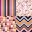 Seamless stripes, zig zag and polka dots background  — Imagen vectorial