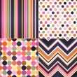 Seamless stripes, zig zag and polka dots background  — Stock vektor
