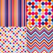 Seamless retro zig zag, circle dots and stripes background — ストックベクタ