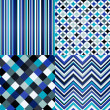 Seamless stripes, zig zag and polka dots background  — Imagens vectoriais em stock