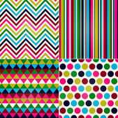 Seamless stripes, zig zag and polka dots background — Stock Vector