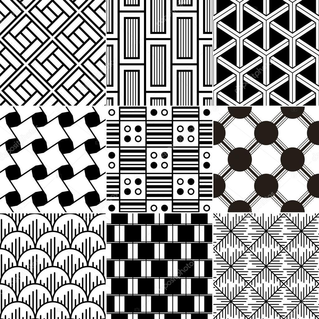 Bianco e nero motivo geometrico senza soluzione di continuità ...