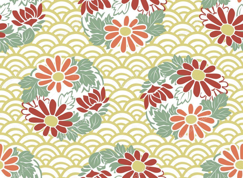 Transparente motif floral japonais image vectorielle pauljune 32283825 - Papier peint motif japonais ...