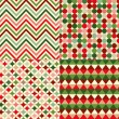 Seamless christmas colors geometric pattern  — Stock Vector