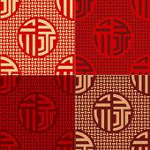 Seamless chinese character lu - prosperity, social status pattern — Stockvektor