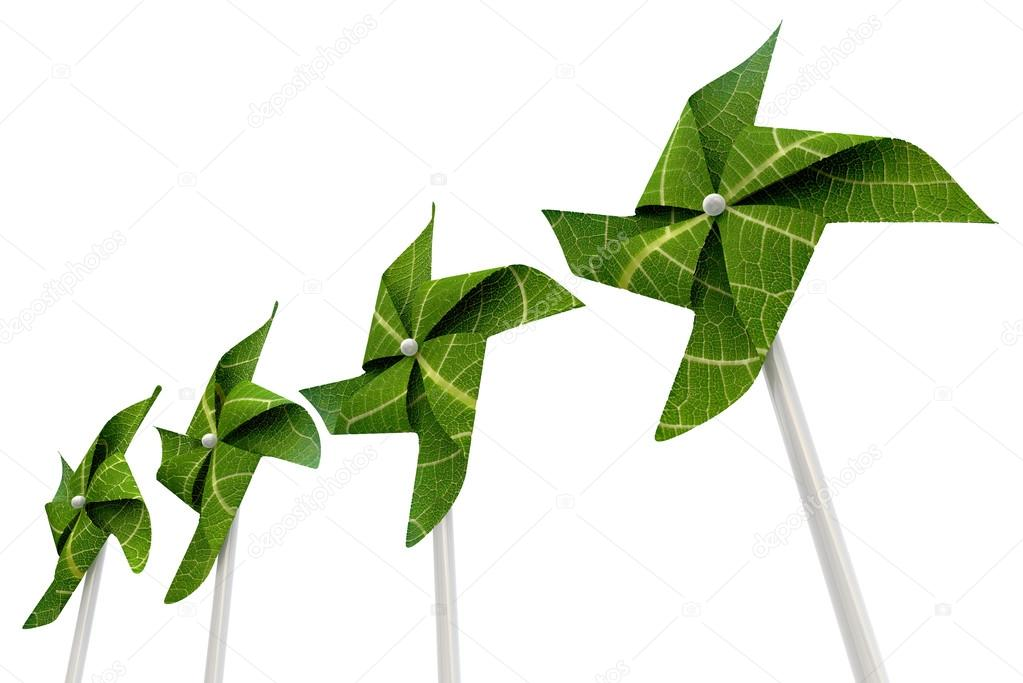 A green windmill made out of leaves isolated on a white background — Stock Photo #12458956