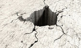 Hole In The Cracked Ground Perspective — Stock Photo