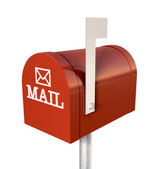 古い学校のレトロな赤いメールボックス — ストック写真