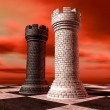 Black And White Chess Castles Square Off - Stock Photo