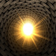 Stock Photo: Light At End Of Brick Tunnel