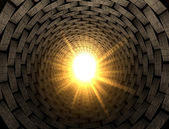 Light At The End Of A Brick Tunnel — Stock Photo