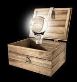 Thinking Outside The Box Lightbulb — Stock Photo