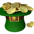 Stock Photo: Green Leprechaun Hat Filled With Gold Coins