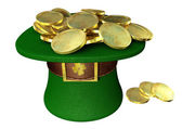 Green Leprechaun Hat Filled With Gold Coins — Stock Photo