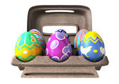 Easter Eggs in an Egg Box — Stock Photo
