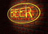 Neon Beer Sign on A Face Brick Wall — Stock Photo