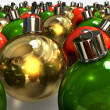 Gold Red And Green Christmas Baubles Floor — Stock Photo