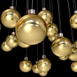 Gold Christmas Baubles Hanging — Stock Photo