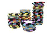 Casino Chip Stacks Top — Stock Photo