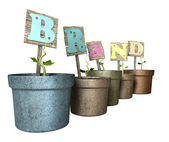 Grow Your Brand Flowerpot — Stock Photo