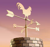 Weathervane Cockerel Chimney Dawn — Stock Photo