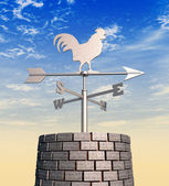 Weathervane Cockerel Chimney Day — Stock Photo