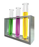 Três tubos de ensaio em uma base de metal — Foto Stock