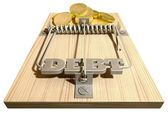 Mouse Debt Trap Front Coins — Stock Photo