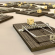 Stock Photo: Mousetraps With Cheese Array Close