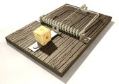 Mousetrap With Cheese Perspective — Stock Photo