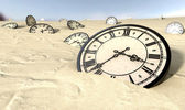 Antique Clocks In Desert Sand — Stock Photo