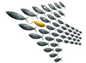 Fish School Arrow Shaped Against The Grain Perspective — Stock Photo