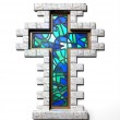 Stained Glass Crucifix Window Isolated — Stock Photo #21026135