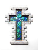 Stained Glass Crucifix Window Isolated — Stock Photo