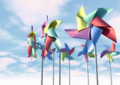 Colorful Pinwheels On Blue Sky Front — Stock Photo