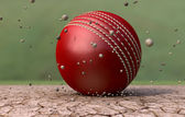 Cricket Ball Striking Ground With Particles — Stock Photo