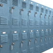 Blue School Lockers Perspective — Stock Photo