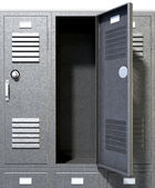 Grey School Lockers Perspective — Stock Photo